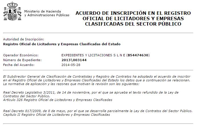 Registro de licitadores y empresas clasificadas del sector público