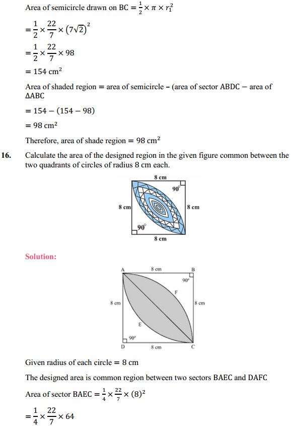 NCERT Solutions for Class 10 Maths Chapter 12 Areas Related to Circles Ex 12.3 18