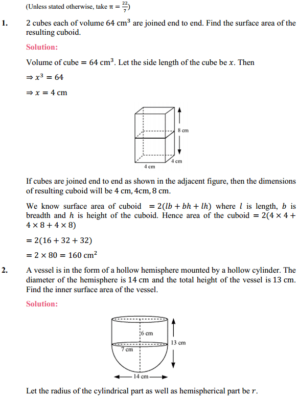 NCERT Solutions for Class 10 Maths Chapter 13 Surface Areas and Volumes Ex 13.1 1
