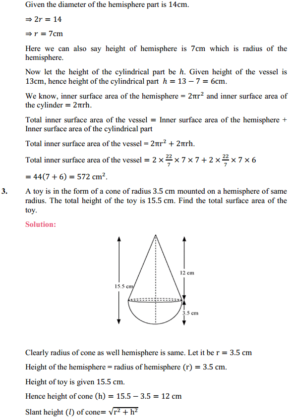 NCERT Solutions for Class 10 Maths Chapter 13 Surface Areas and Volumes Ex 13.1 2