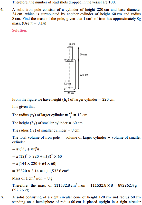 NCERT Solutions for Class 10 Maths Chapter 13 Surface Areas and Volumes Ex 13.2 6