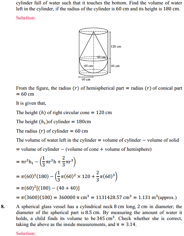 NCERT Solutions for Class 10 Maths Chapter 13 Surface Areas and Volumes Ex 13.2 7