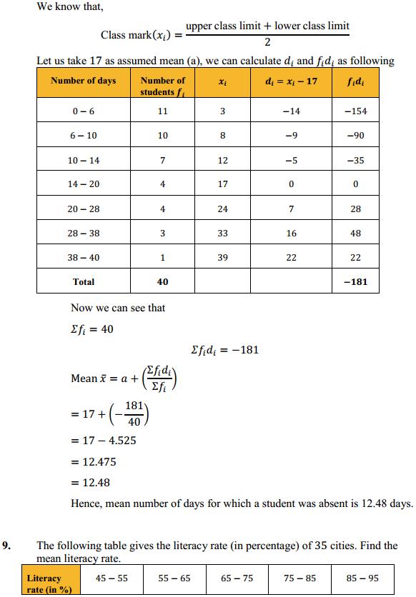 NCERT Solutions for Class 10 Maths Chapter 14 Statistics Ex 14.1 10