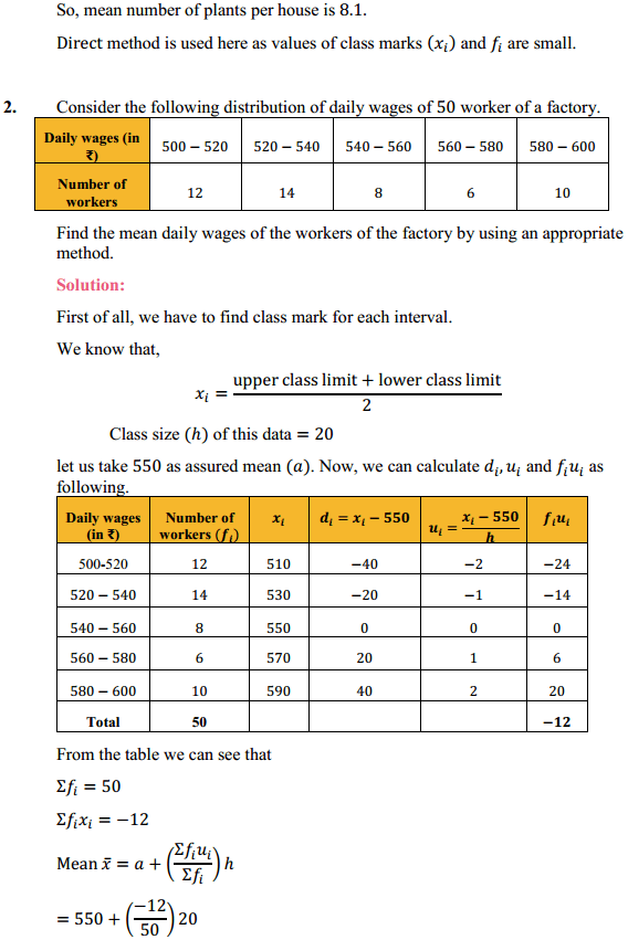 NCERT Solutions for Class 10 Maths Chapter 14 Statistics Ex 14.1 2