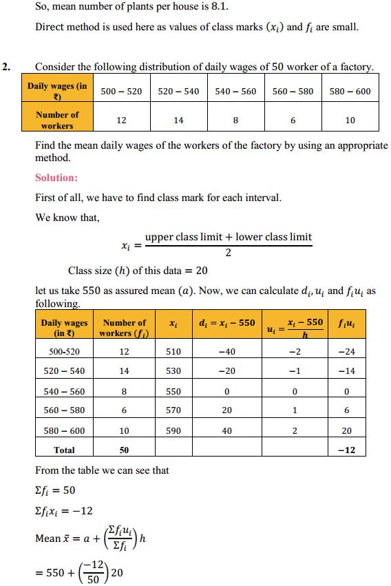 NCERT Solutions for Class 10 Maths Chapter 14 Statistics Ex 14.1 2