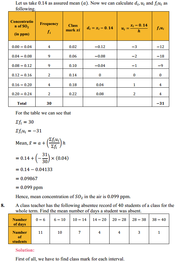 NCERT Solutions for Class 10 Maths Chapter 14 Statistics Ex 14.1 9