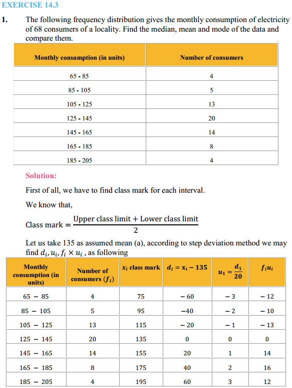 NCERT Solutions for Class 10 Maths Chapter 14 Statistics Ex 14.3 1