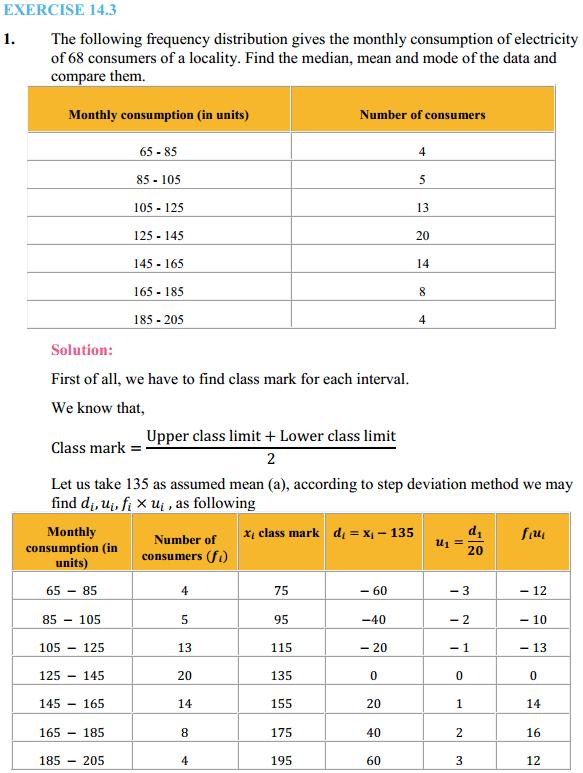 NCERT Solutions for Class 10 Maths Chapter 14 Statistics Ex 14.3 1