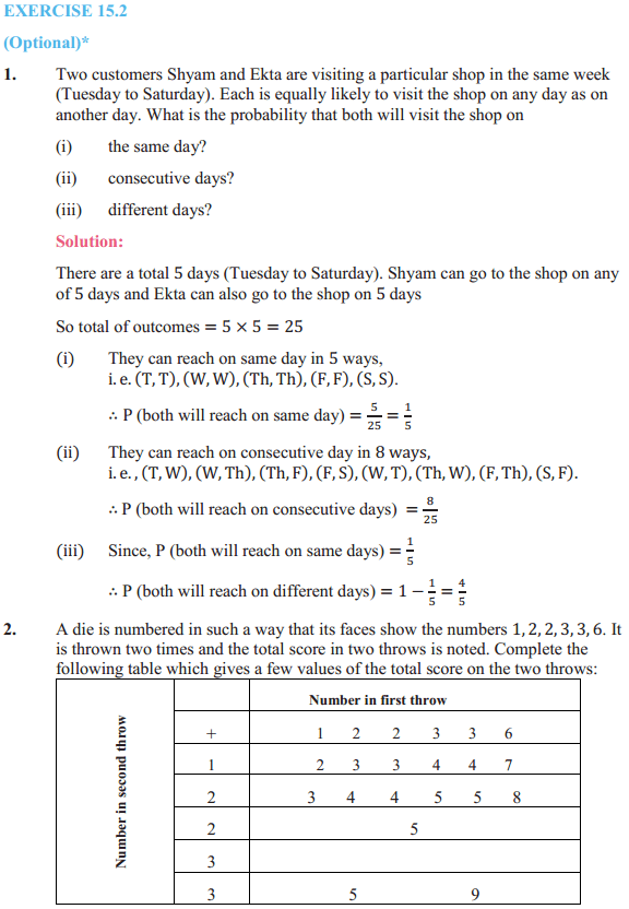 NCERT Solutions for Class 10 Maths Chapter 15 Probability Ex 15.2 1