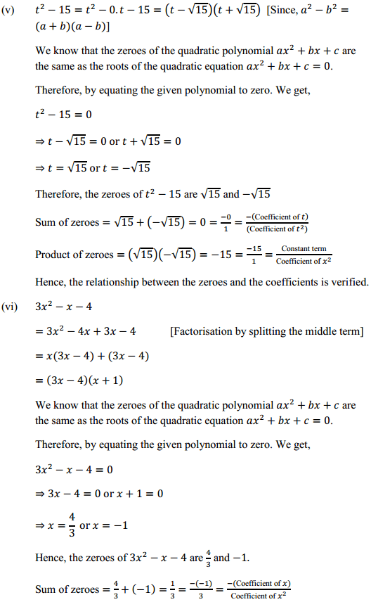 NCERT Solutions for Class 10 Maths Chapter 2 Polynomials Ex 2.2 4