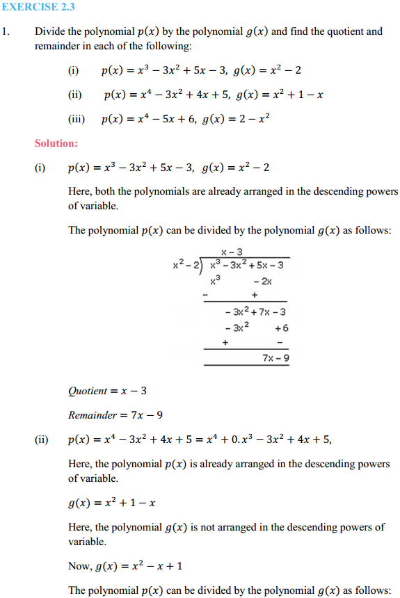 NCERT Solutions for Class 10 Maths Chapter 2 Polynomials Ex 2.3 1