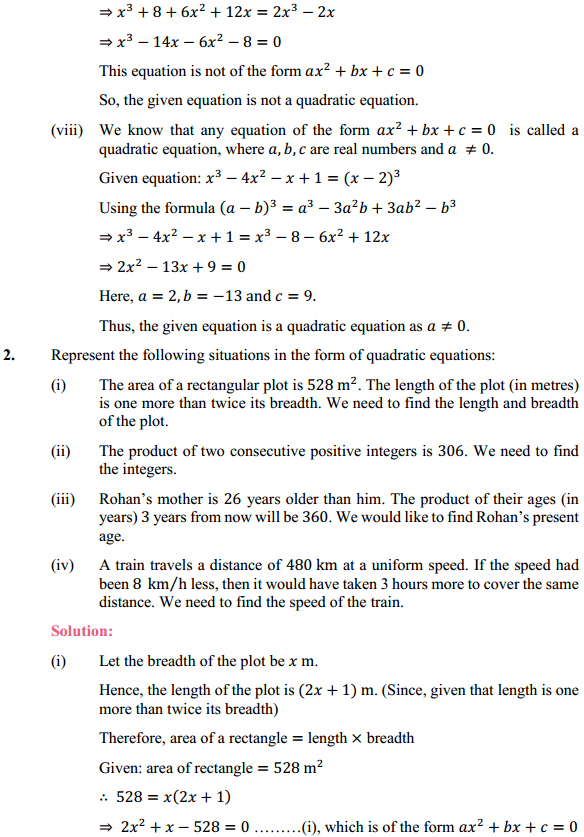 NCERT Solutions for Class 10 Maths Chapter 4 Quadratic Equations Ex 4.1 3