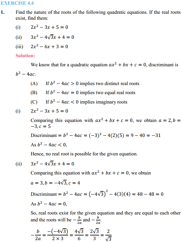 NCERT Solutions for Class 10 Maths Chapter 4 Quadratic Equations Ex 4.4 1