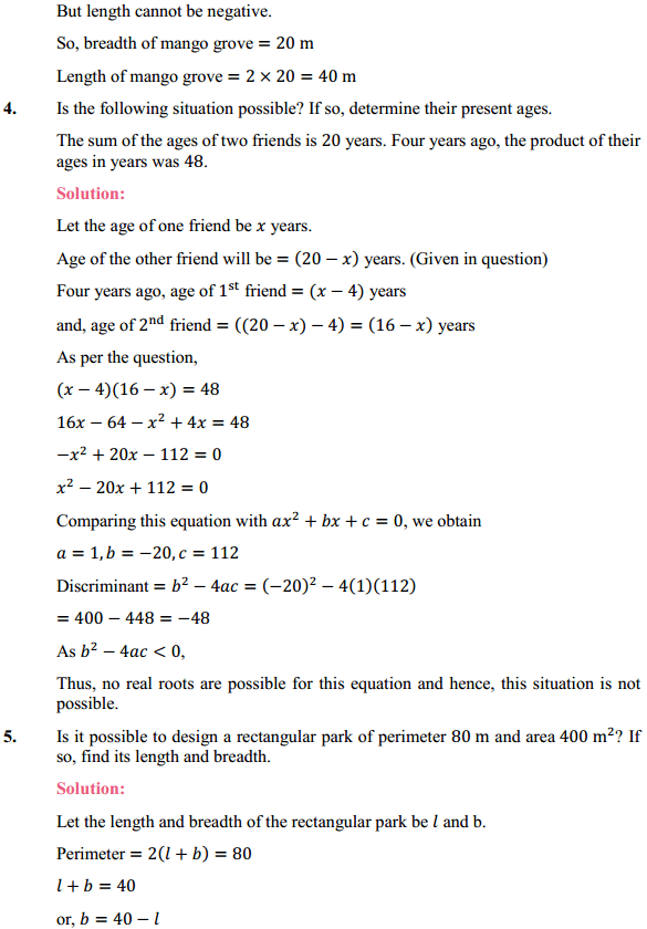 NCERT Solutions for Class 10 Maths Chapter 4 Quadratic Equations Ex 4.4 4
