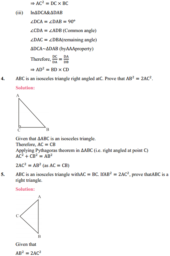 NCERT Solutions for Class 10 Maths Chapter 6 Triangles Ex 6.5 4