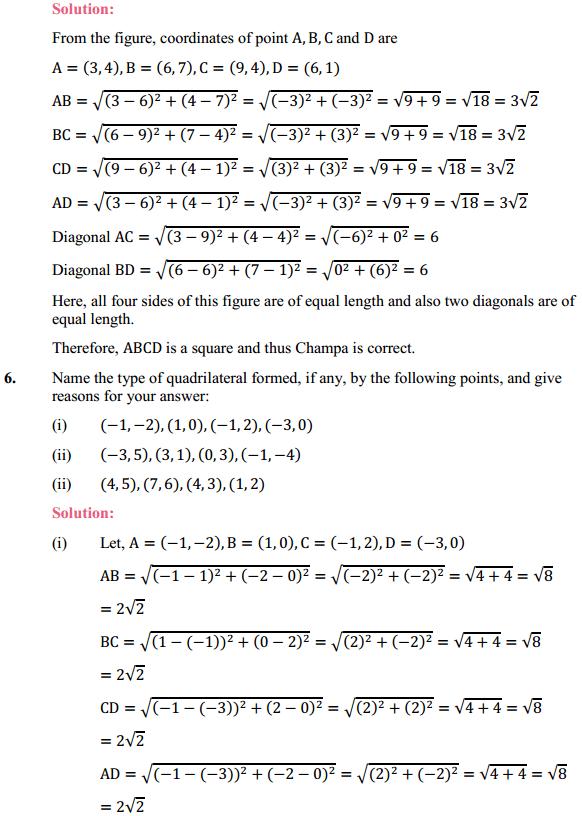 NCERT Solutions for Class 10 Maths Chapter 7 Coordinate Geometry Ex 7.1 4