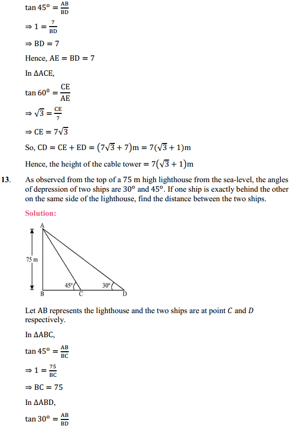 NCERT Solutions for Class 10 Maths Chapter 9 Some Applications of Trigonometry Ex 9.1 11