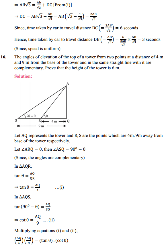 NCERT Solutions for Class 10 Maths Chapter 9 Some Applications of Trigonometry Ex 9.1 13