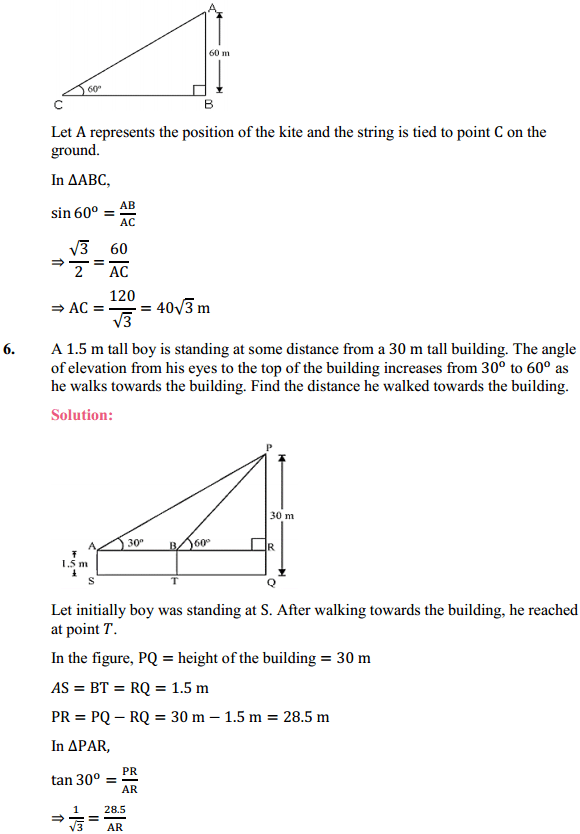 NCERT Solutions for Class 10 Maths Chapter 9 Some Applications of Trigonometry Ex 9.1 4
