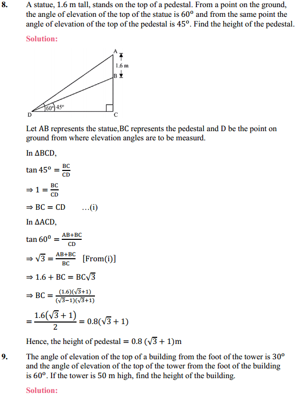 NCERT Solutions for Class 10 Maths Chapter 9 Some Applications of Trigonometry Ex 9.1 6