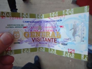 The evidence: ticket Rafaela vs. Boca Juniors