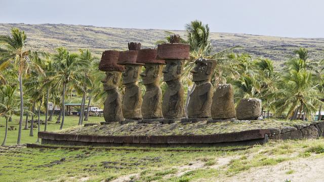 Anakena Beach Moai Statues