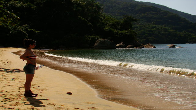 Montse enjoying the beaches of Ilha Grande