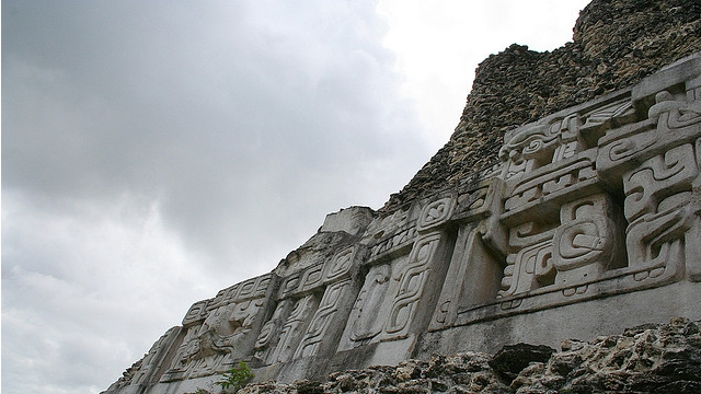 The richly decorated frieze at Xunantunich
