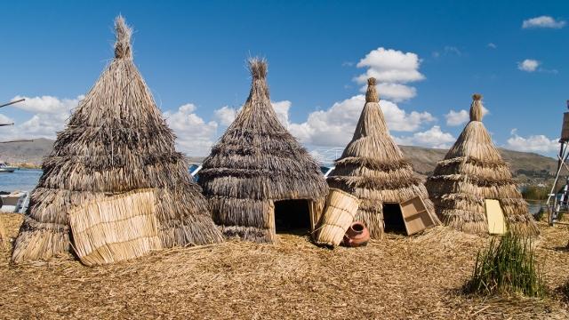 Uros Buildings at Lake Titicaca