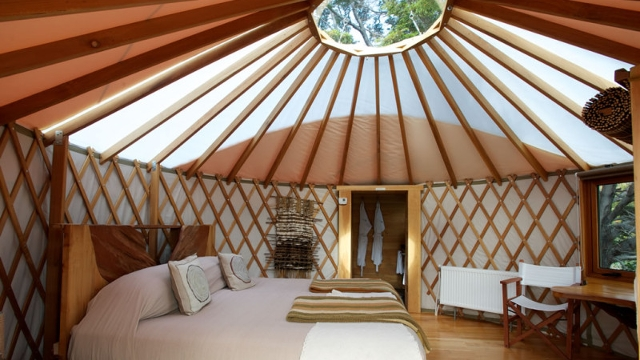 Inside a yurt at Patagonia Camp, Torres del Paine