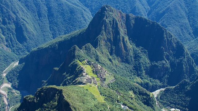 View of Wayna Picchu & Machu Picchu from Machu Picchu Mountain