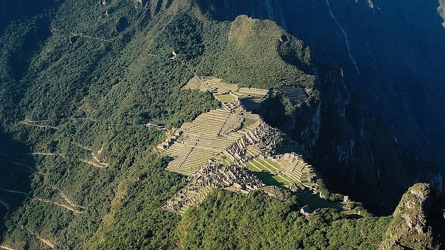Aerial photo of Machu Picchu from Wayna Picchu