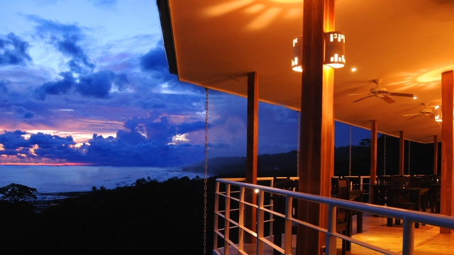 Enjoy the sunset from the Papaya Lounge Restaurant