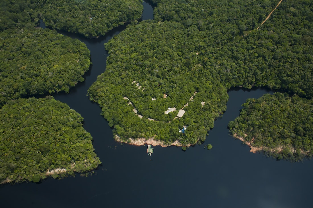 Arial of the Anavilhanas Lodge in the heart of the Amazon