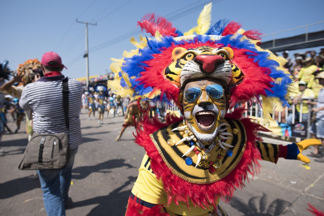 A reveler in a patriotic lion costume. RewritingtheMap/Emanuel Echeverri