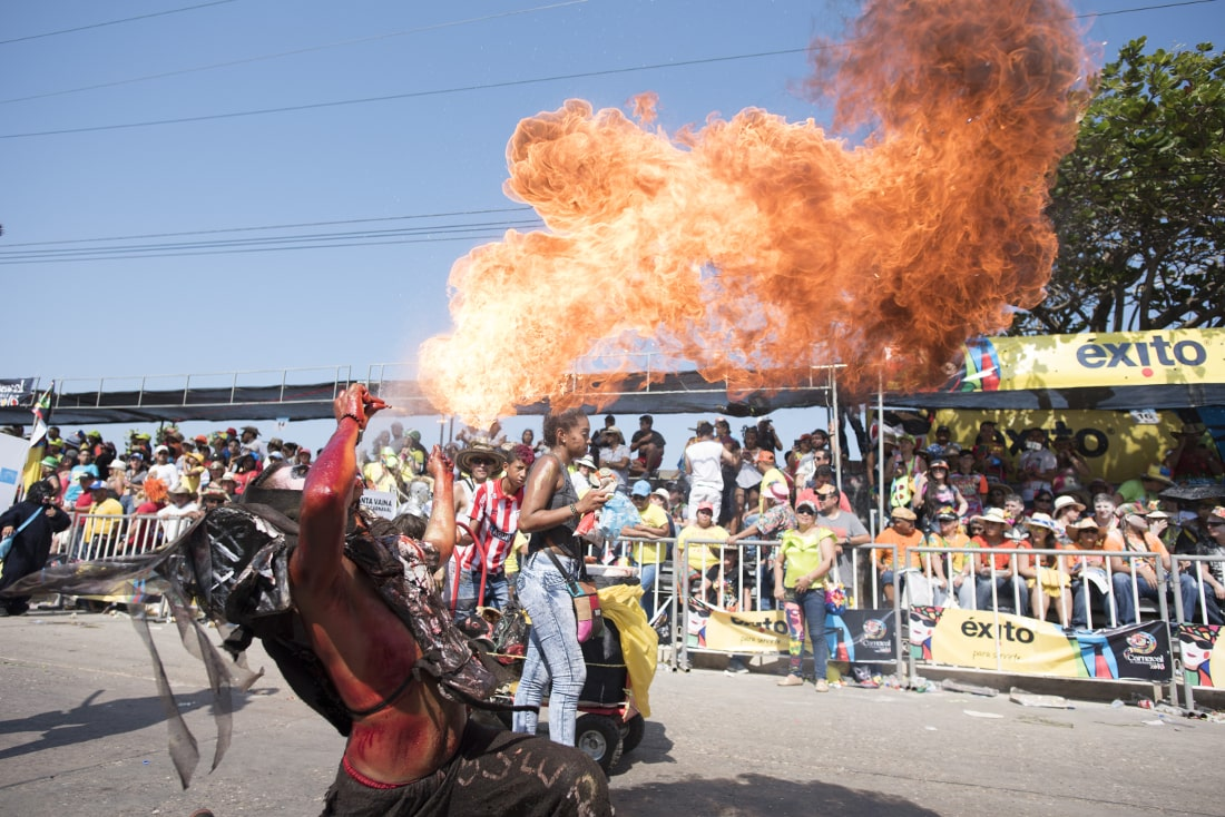 Fire breathers during the many parades are always a crowd favorite. RewritingtheMap/Emanuel Echeverri