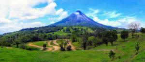 volcano with grasslands