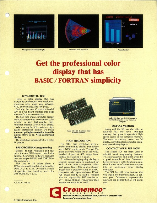 SDI High-Resolution Color Graphics Interface