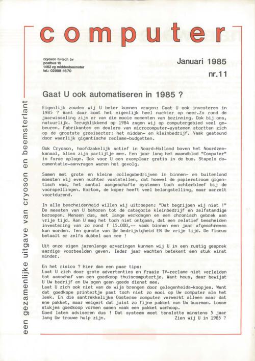 Computer, Januari 1985, Nr.11