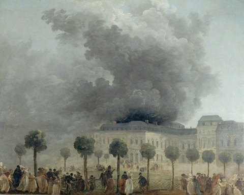 Hubert Robert, L'Incendie de l'Opéra, vu des jardins du Palais-Royal , vers 1781