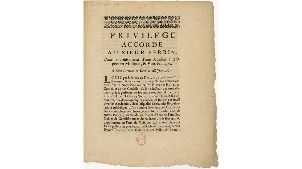 Privilège accordé à Pierre Perrin pour monter des académies d'opéra