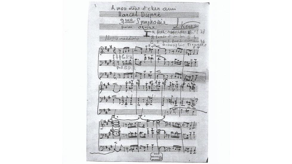 Manuscrit de la 3ème Symphonie de Vierne