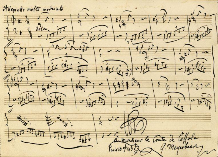 Autographe de Giacomo Meyerbeer, Album d'autographes d'Eugène de Cessole.