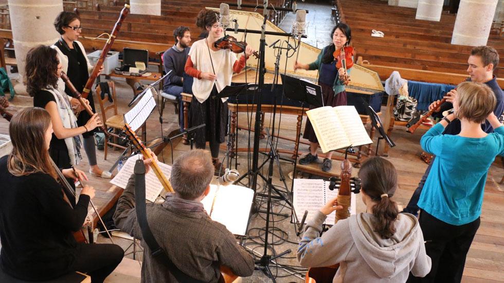 L'ensemble Les Timbres en enregistrement