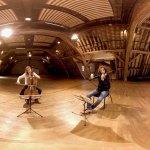 """Lea Hennino (alto) Pauline Buet (violoncelle), Pierre Fouchenneret (violon) et David Violi (piano) de I Giardini dans le film en réalité virtuelle """"Au cœur du quatuor"""" © DR"""