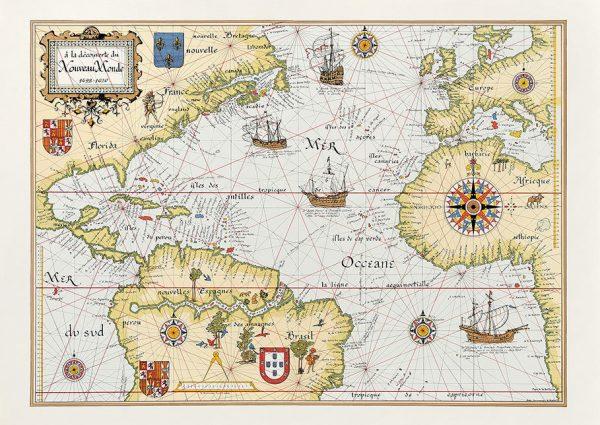 Carte illustrée de la conquête du Nouveau Monde, 1492-1620. Editions d'Art Daniel Derveaux