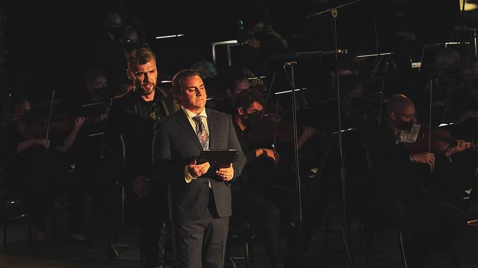 """Nicolas Courjal (""""Bertram"""") et John Osborn (""""Robert"""")"""
