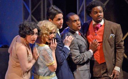 The Quintet: (l-r) Lisetta  Bridget Haile; Doralice  Jaime Korkos; Alberto Marco Antonio Jordao; Filippo Jason Ryan; Don Pomponio Leroy Davis (andrew Hurlbut/NEC photo)