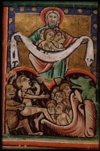 Lazarus in Abe's bosom_fol.16r sc 2B