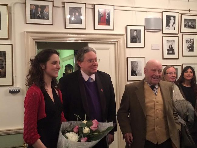 Laura Snowden, Julian Anderson, and Julian Bream backstage at Wigmore Hall